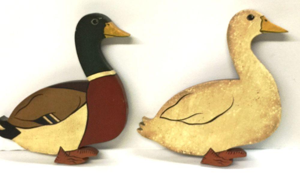 RUSTIC WOODEN DUCK WALL PLAQUES (MALLARD AND PEKIN) | Ebay Items ...