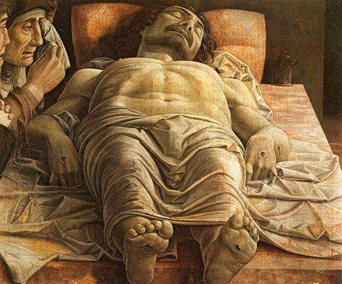 アンドレーア・マンテーニャ (1431-1506)  死せるキリスト テンペラ 61×81cm 1480年頃  ミラノ ブレラ美術館 (イタリア) 所蔵
