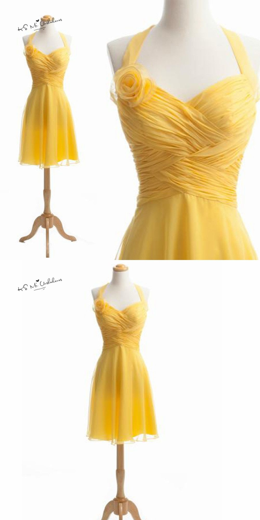 Yellow dress wedding guest  Yellow Bridesmaid Dresses Halter Flowers Short Wedding Guest Dress