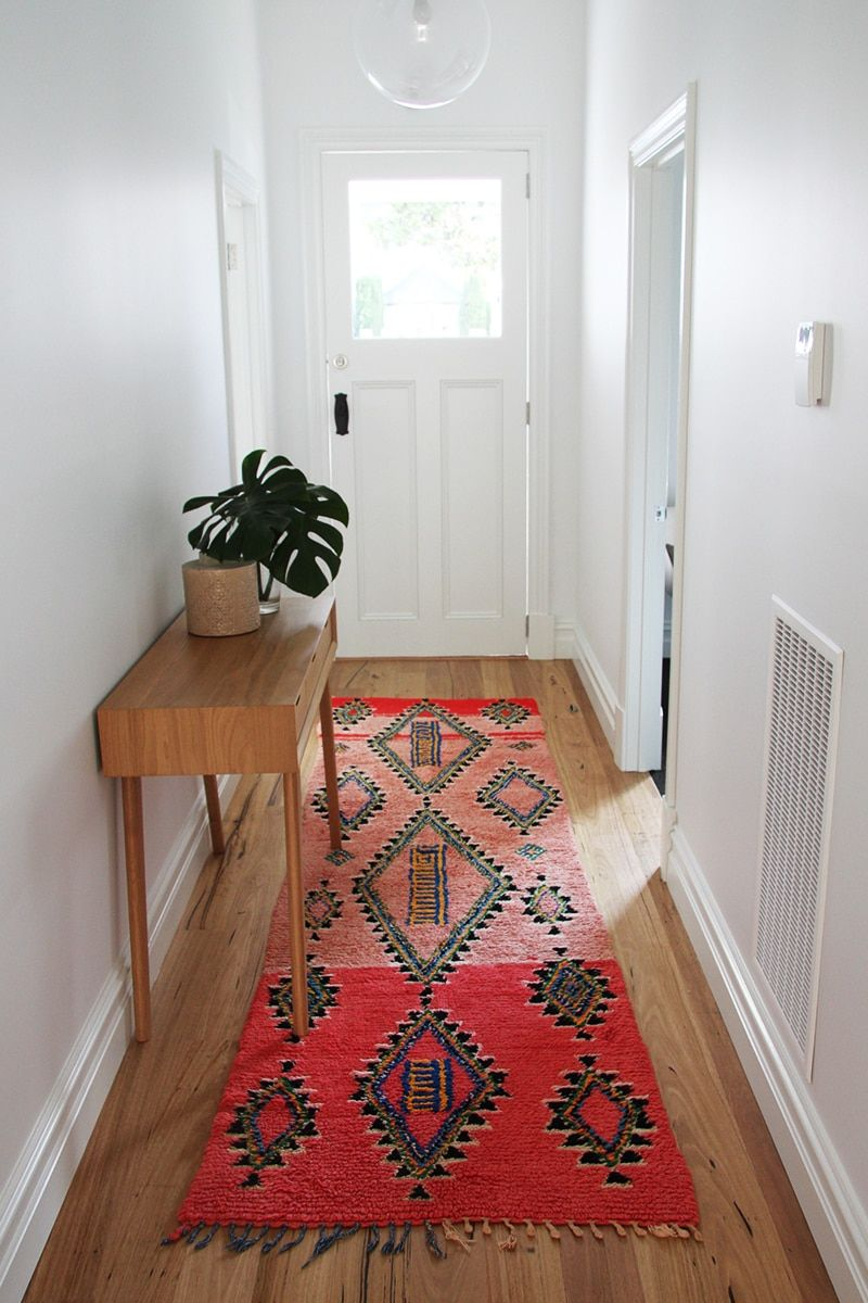 Bright Red Moroccan Floor Runner In Hallway Inside Front Door Entry By Nouvelle Nomad