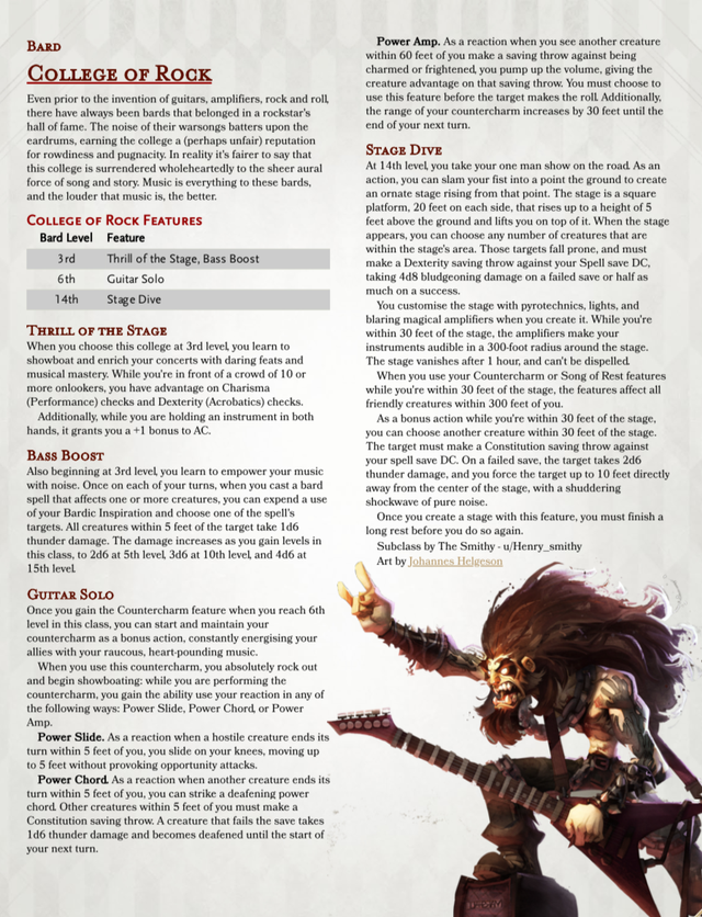 Subclass The Bardic College Of Rock An Offense Based Bard That
