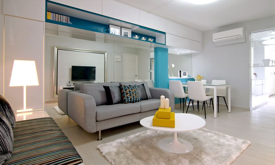 Blue Gray Yellow Living Room Diner