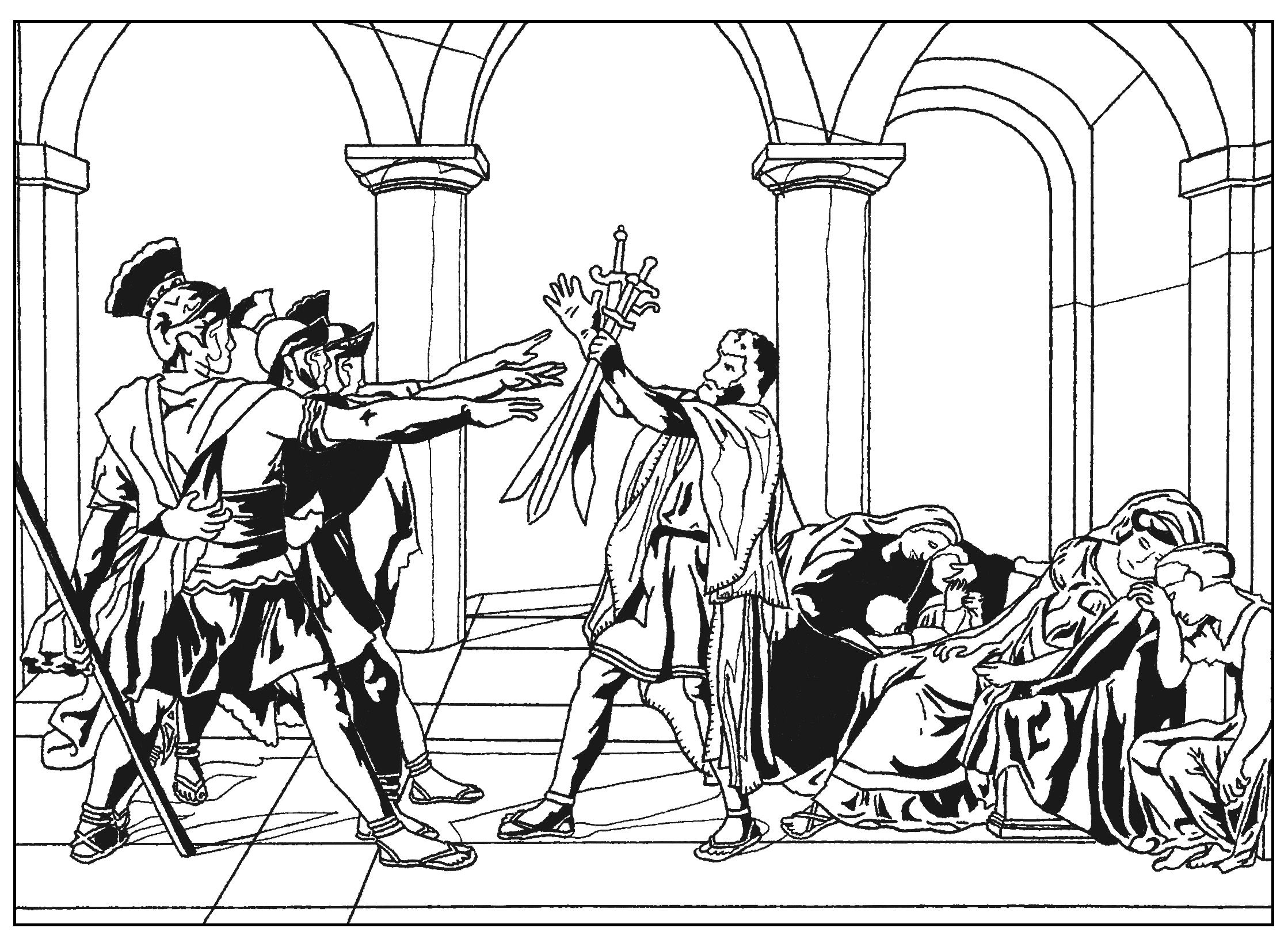 Free coloring page coloring-adult-oath-of-the-horatii-by-david ...