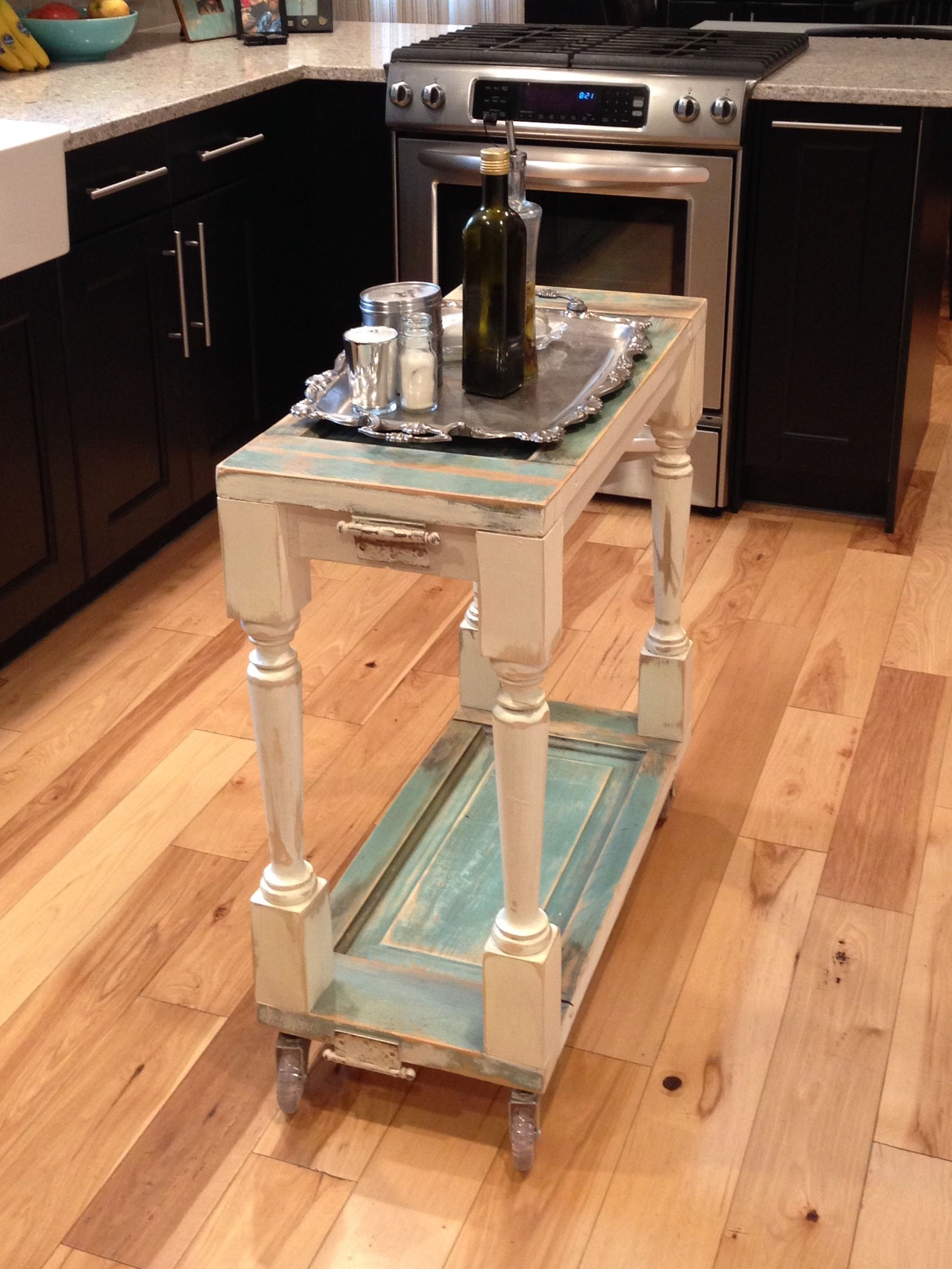 Fun and functional kitchen island made by junk chic island is