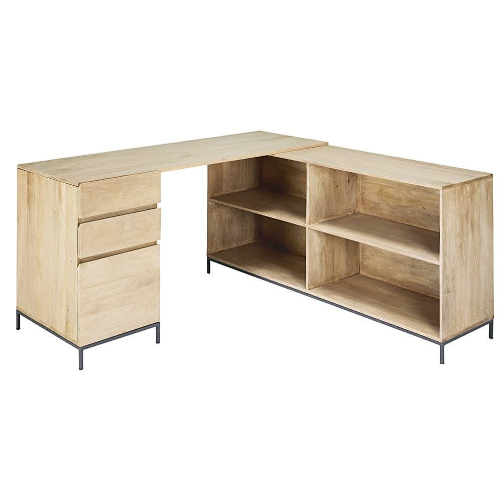 Mango Wood And Metal 1 Door 2 Drawer Corner Desk Wilson Maisons