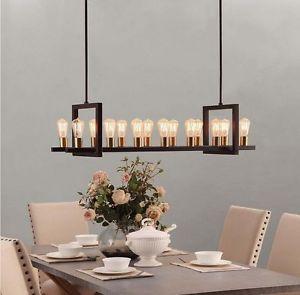 New 14 Light Rectangular Brass Metal Chandelier Rustic Lighting Black