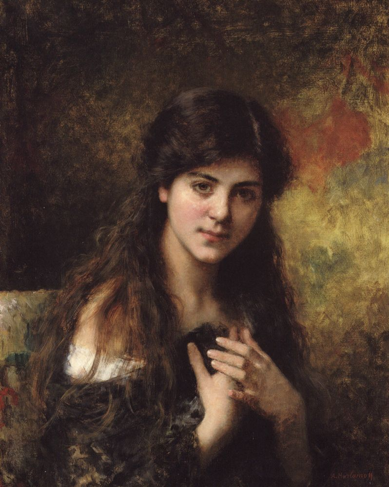 Young girl beauty roses flowers canvas Dream-art Oil painting Alexei Harlamoff