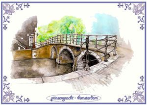 Drawing of a canal in Amsterdam.