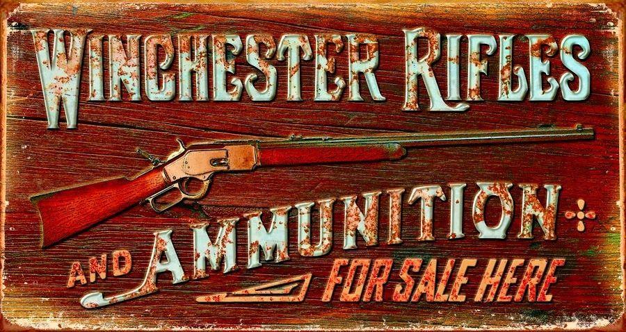 garage shop wall  man cave Winchester rifles metal tin sign
