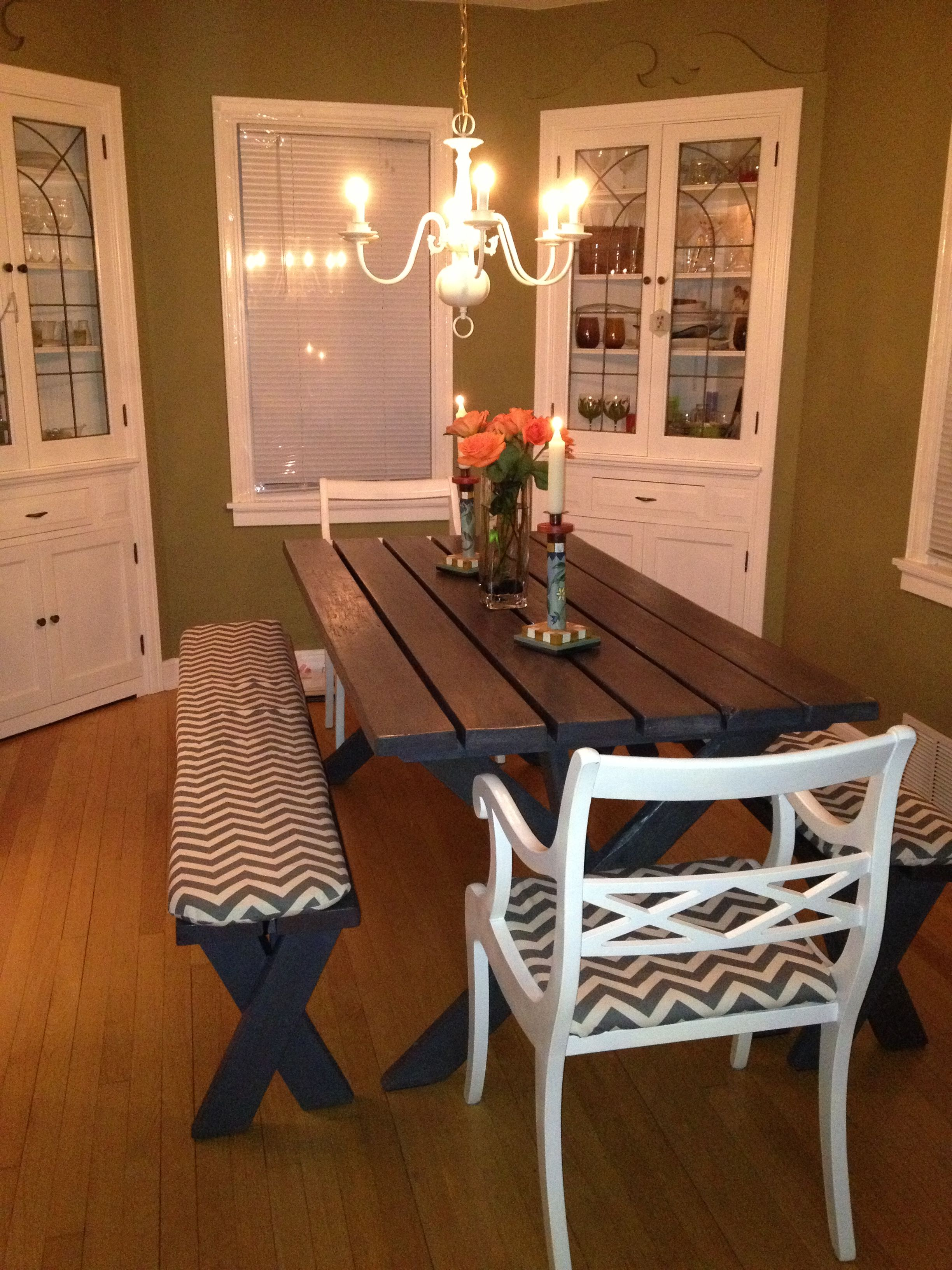 Refurbished from an old/beat-up picnic table to a chic gray ...