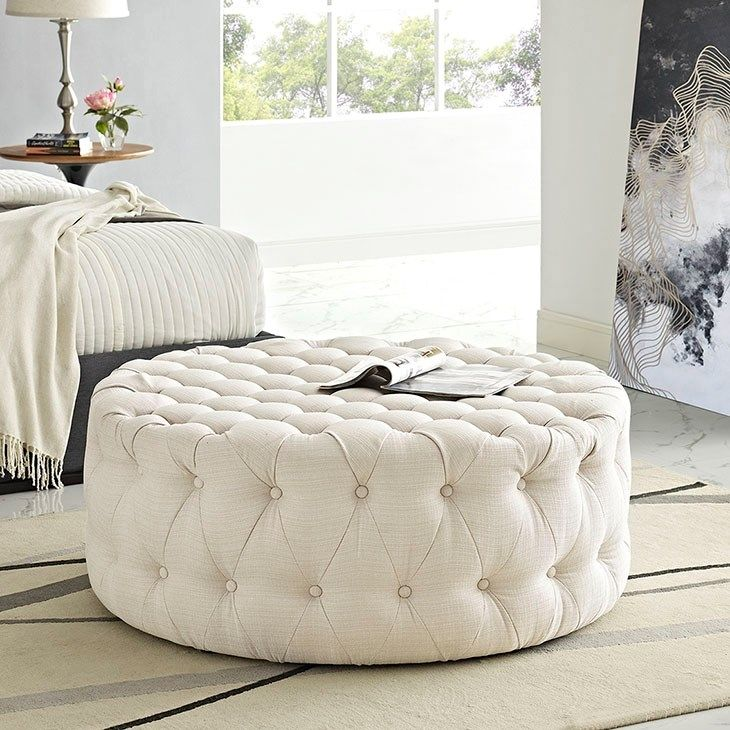 LexMod - Amour Fabric Ottoman in Beige | Puff | Pinterest
