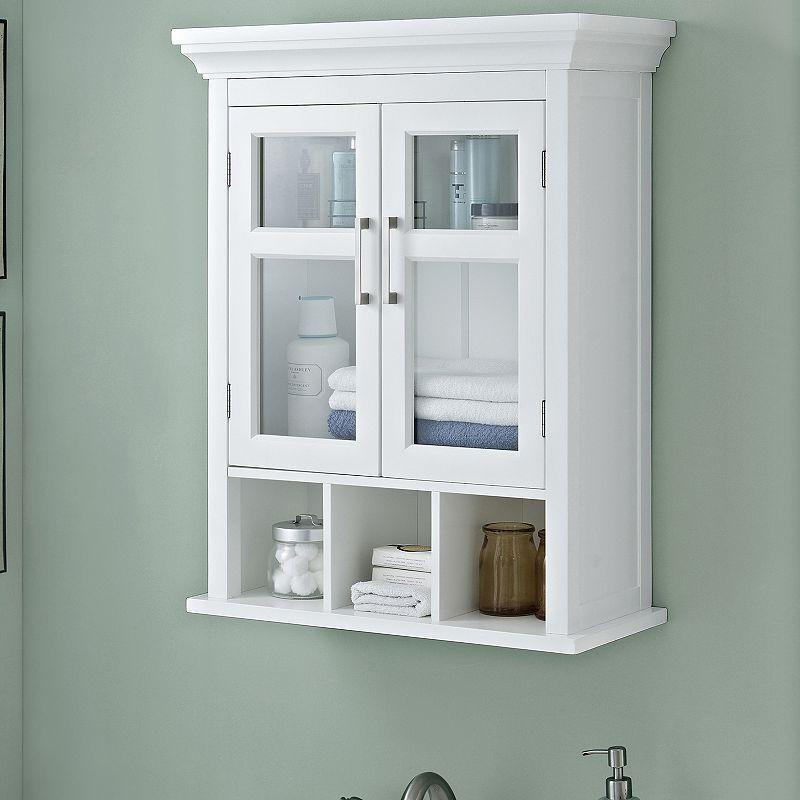 Simpli Home Avington Two Door Wall Cabinet White Bathroom Wall Cabinets Wall Mounted Cabinet