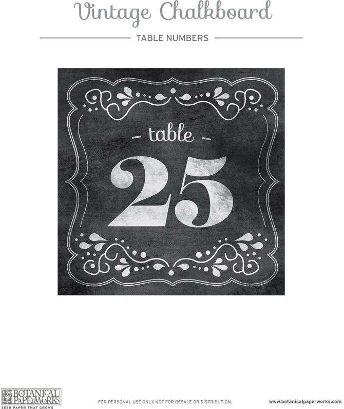 Love These Free Printable Chalkboard Wedding Table Numbers From Botanicalpaperworks Craft Pinterest Tables And