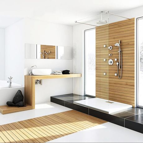 love how the wood in the shower extends to the floor!