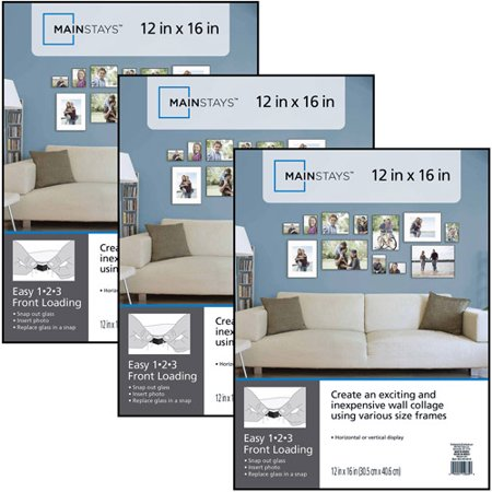 Mainstays 12x16 Format Picture Frame Set Of 3 Walmart Com Picture Frame Wall Picture Wall Bedroom Picture Frames