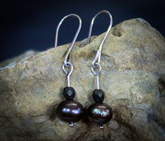 Pearl Earrings Bronze Freshwater Pearls Czech by ElementalSoul