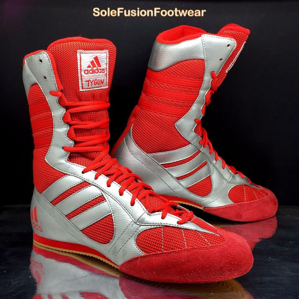 18a6344e0355 adidas Tygun Mens Boxing Boots Silver Red sz UK 7.5 Rare Sneakers US 8 EU  41 1 3
