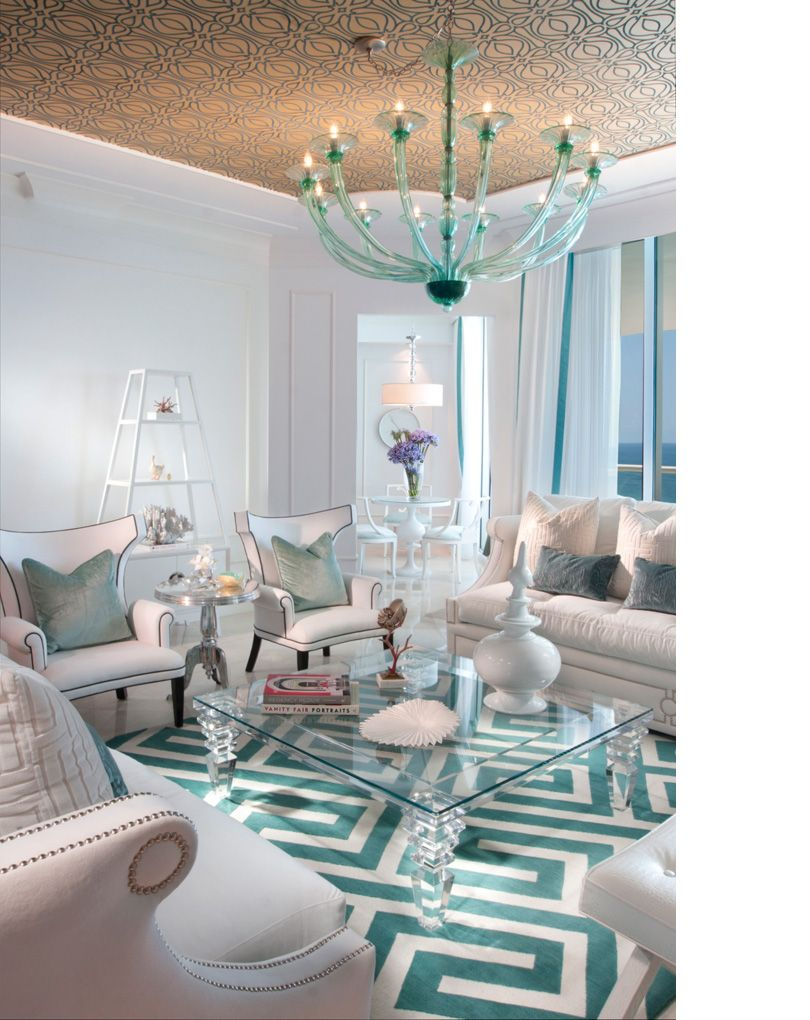 chic modern contemporary living room white turquoise wallpapered ...