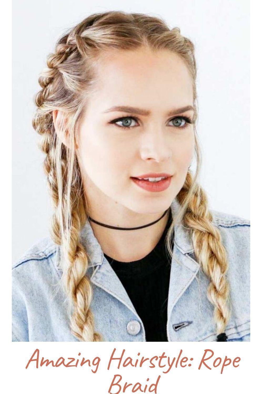 Amazing Hairstyle Rope Braid In 2020 Rope Braided Hairstyle Braided Hairstyles Braided Hairstyles Easy