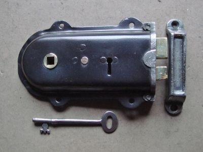 Edwardian Steel Cased Lockable Rim Latch