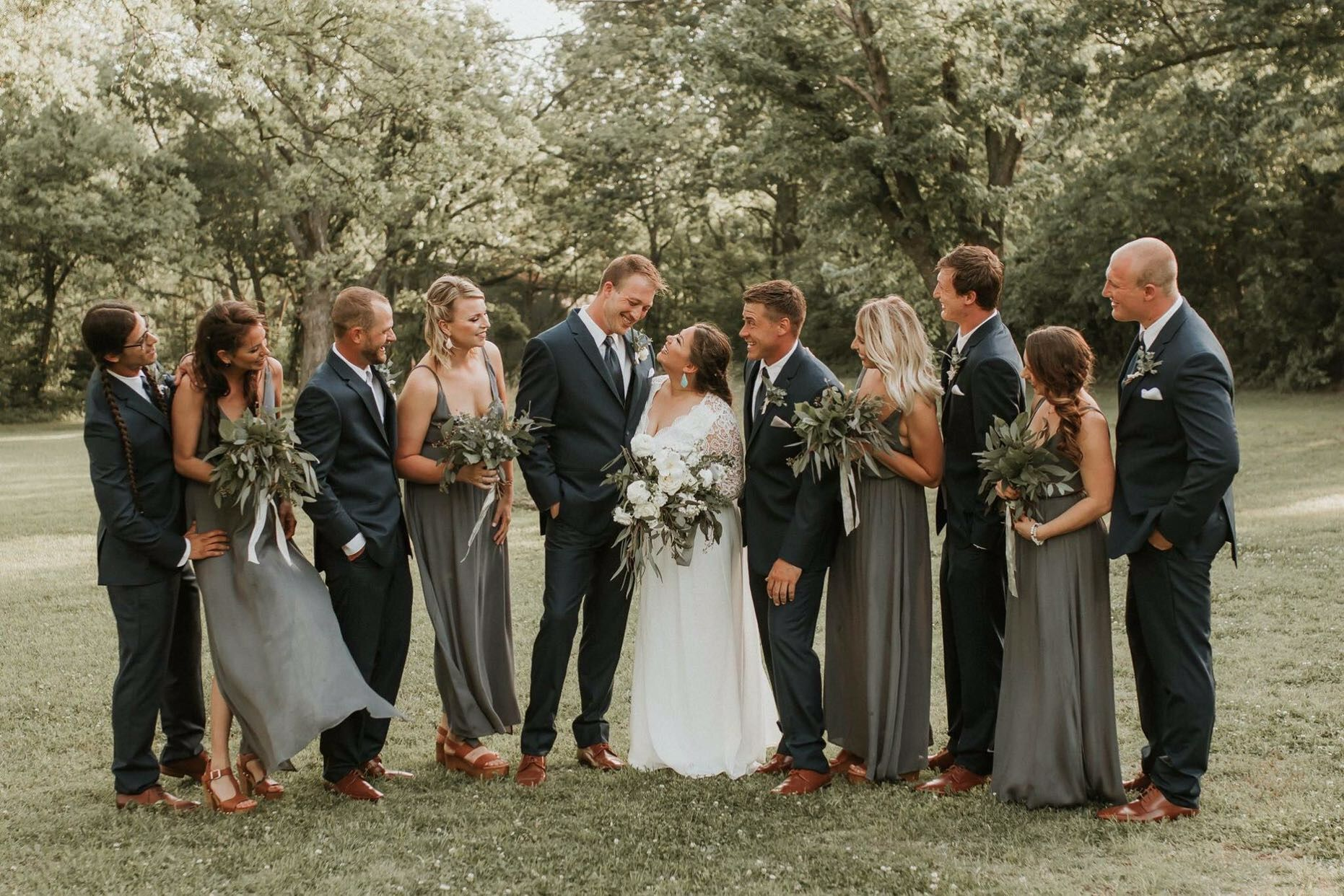 Wedding Party Early May Backyard Wedding Sunset Navy Blue Suits And Slate Gray Dresses Navy Blue Suit Wedding Gray Wedding Party Gray And Navy Blue Wedding