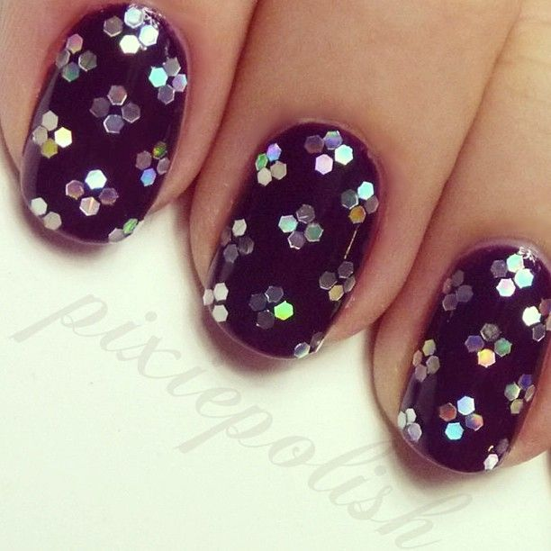 Hand Placed Glitter Nail Art Design By Pixiepolish. Great