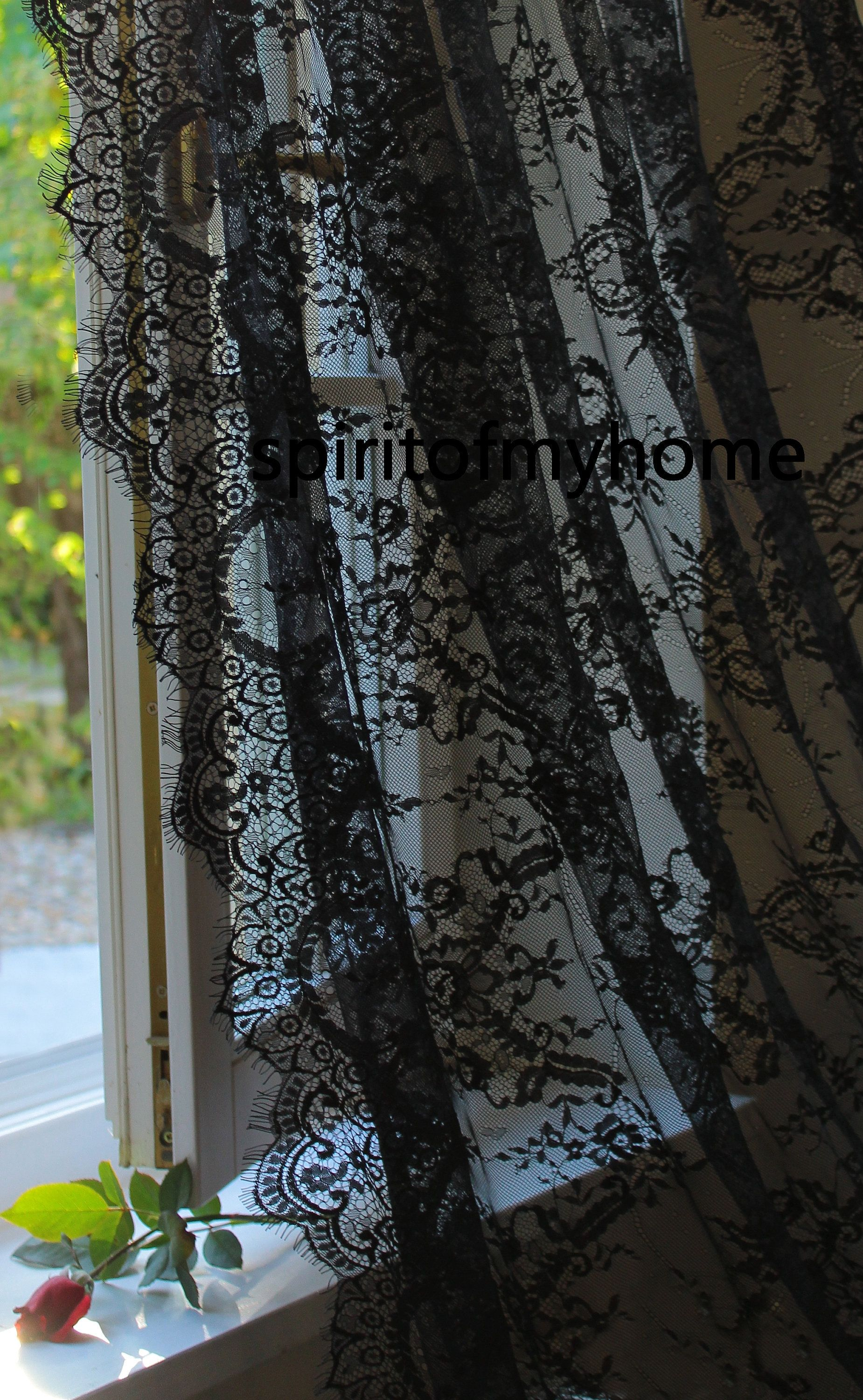 Chiara Magical Net Lace Curtain Panel Black Color Classical Style