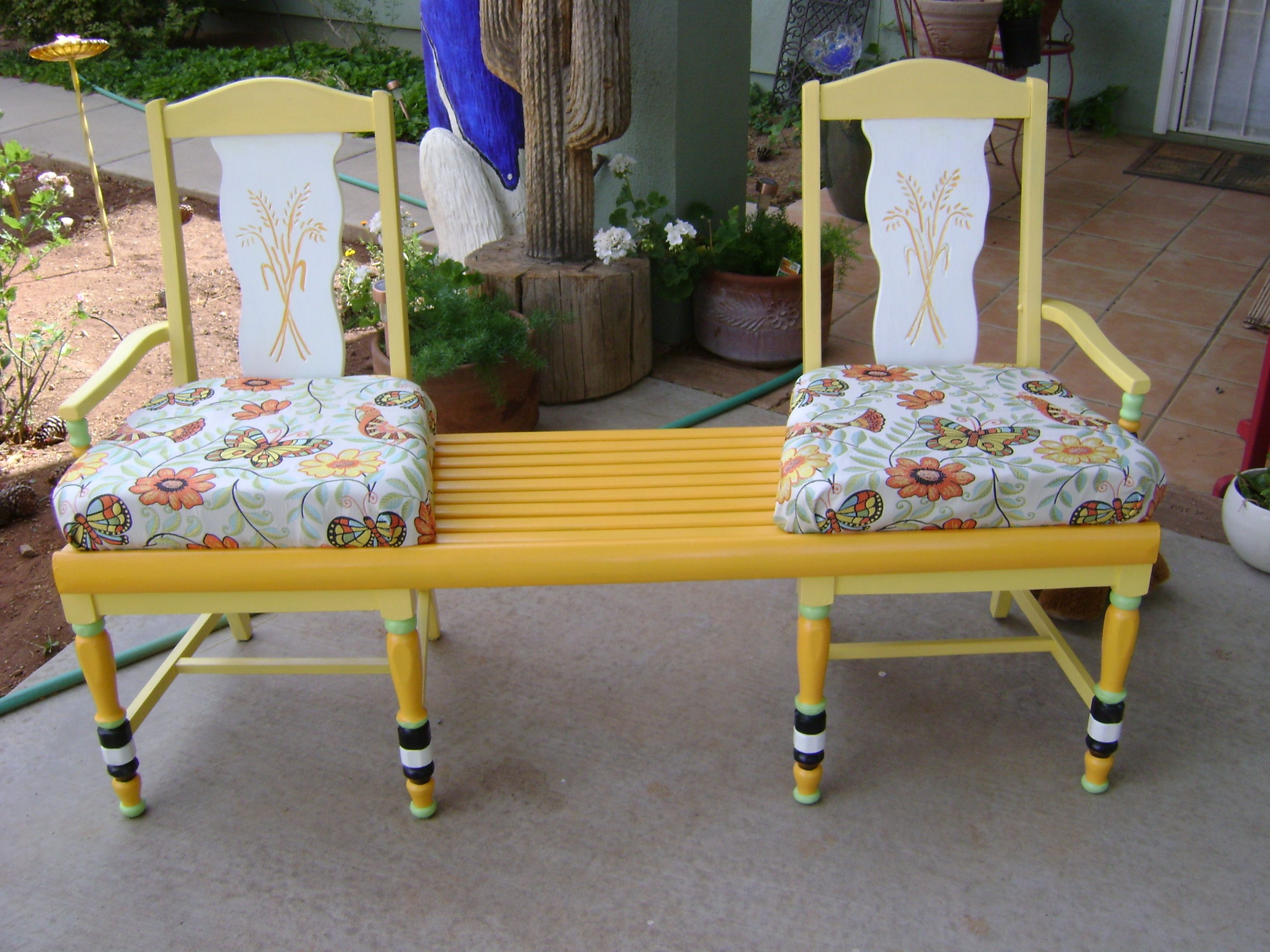 Painted chairs with a bench between. | Chair Art | Pinterest