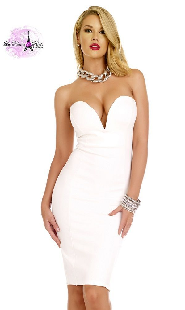 b09b9f390 Vestido ajustado blanco escote corazón