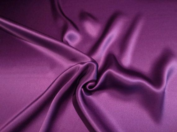 Deep Purple Solid Color 16 mm Pure Silk Charmeuse FabricBy