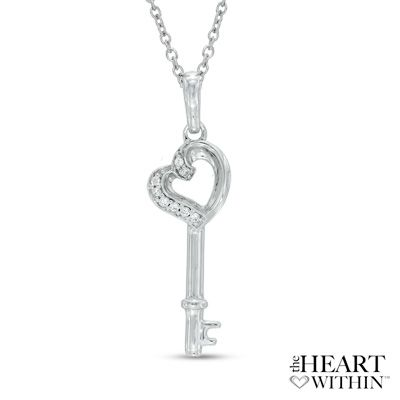 The Heart Within® Diamond Accent Tilted Heart-Top Key Pendant in Sterling Silver - Peoples Jewellers The Heart Within® Diamond Accent Tilted Heart-Top Key Pendant in Sterling Silver - - View All Jewellery - Peoples Jewellers