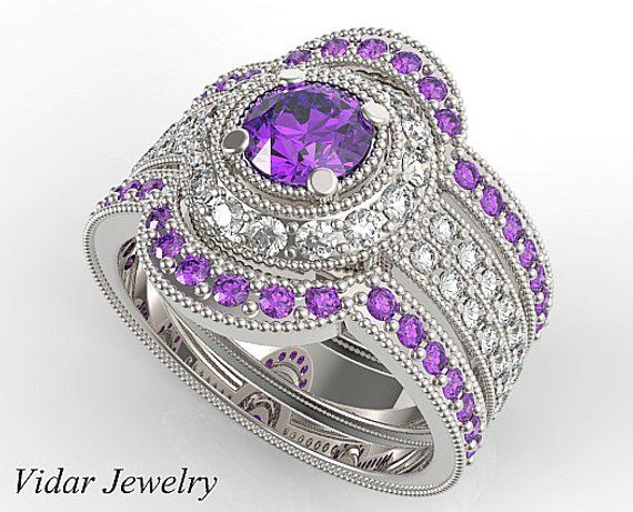 Filligree Purple Amethyst Vintage Wedding Set Unique Engagement