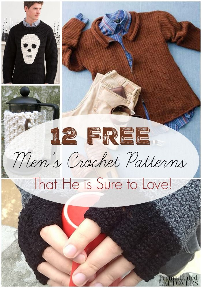 298a5b7bf0701 Free Crochet Patterns for Men- Check out these 12 free men s crochet  patterns. They include gifts he will love such as sweaters