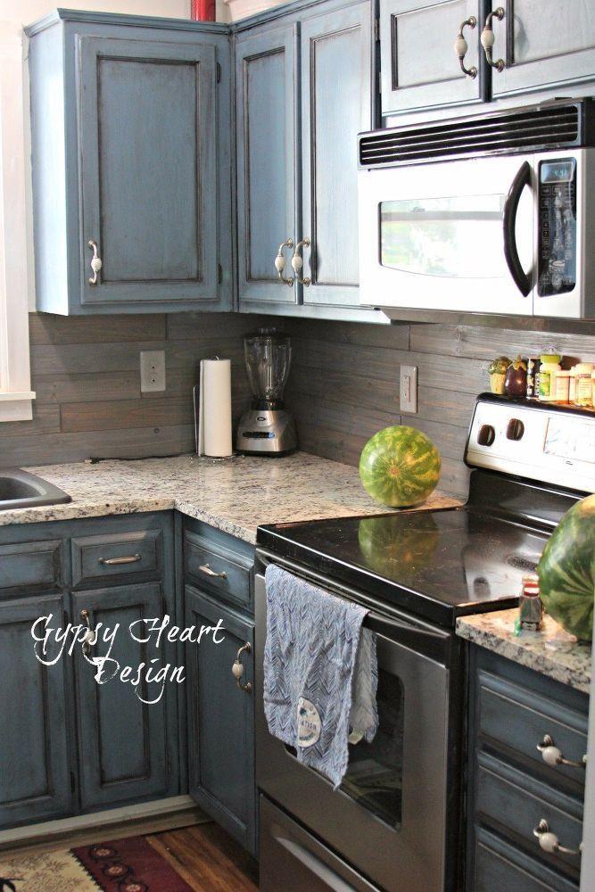 Wood Plank Backsplash Amp Blue Distressed Cabinets Kitchen