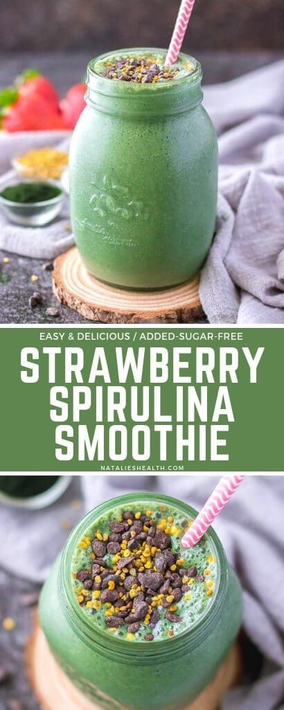 Strawberry Spirulina Smoothie recipe is one of the BEST and easiest ways to add more fruits and vegetables into your morning routine. This tasty breakfast smoothie is DELICIOUS, super simple to make and nutritious. + Vegan, added-sugar-free! ---- #breakfast #breakfastrecipes #breakfastideas #breakfastsmoothies #smoothies #smoothierecipes #healthyrecipes #healthyfood #greensmoothies #detoxsmoothie #detoxdrinks #veganrecipes