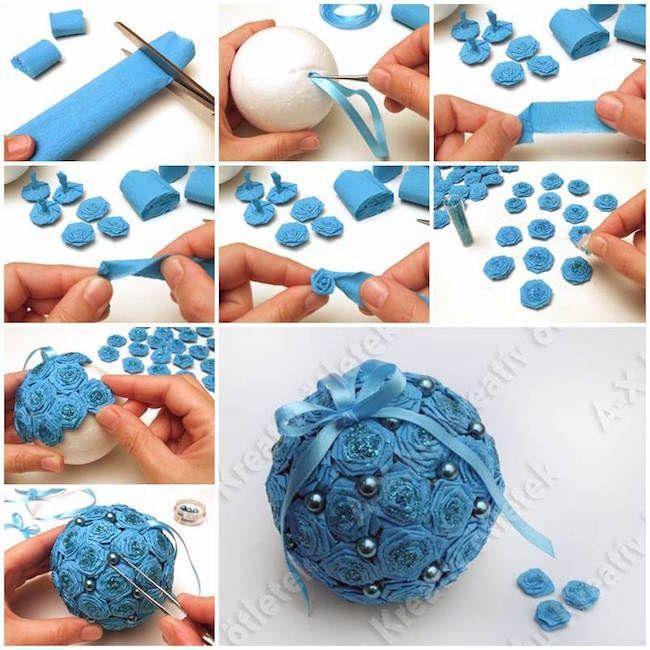 C mo hacer una bola de navidad recubierta de flores diy navidad decoracion manualidades de - Como decorar una bola de navidad ...