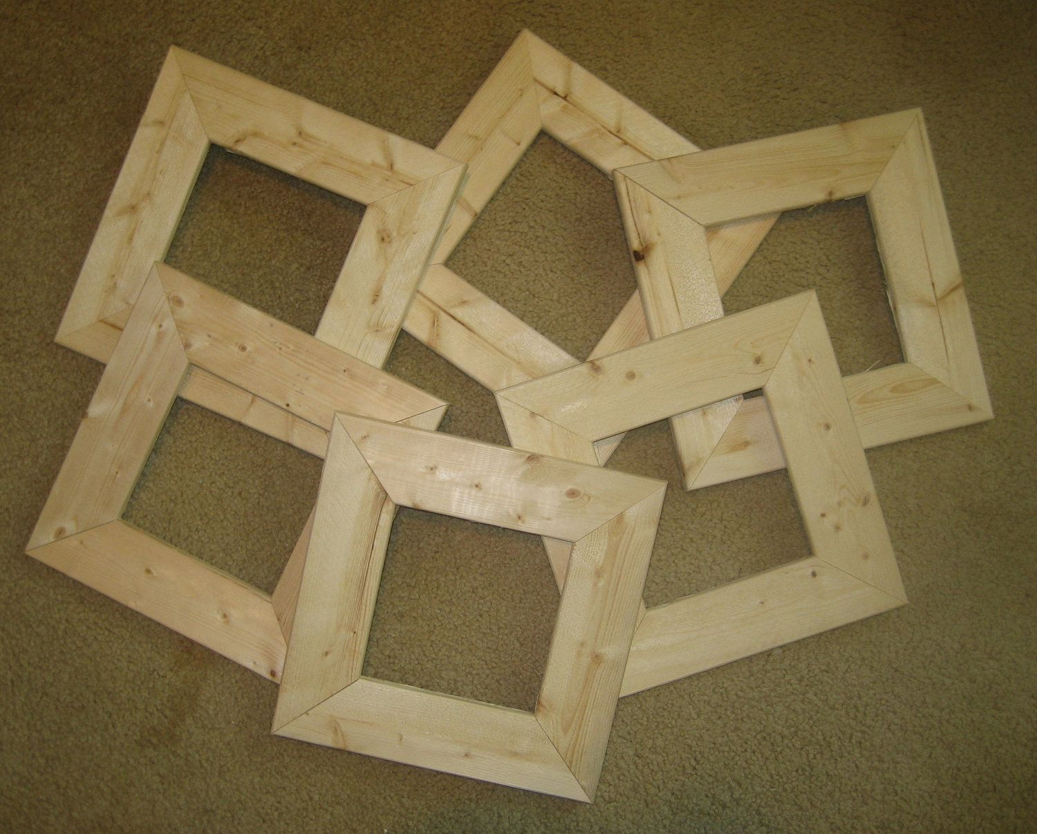 """six 6x6 unfinished wood  picture frames in 2.5""""  rough cut  moulding. $36.00, via Etsy."""