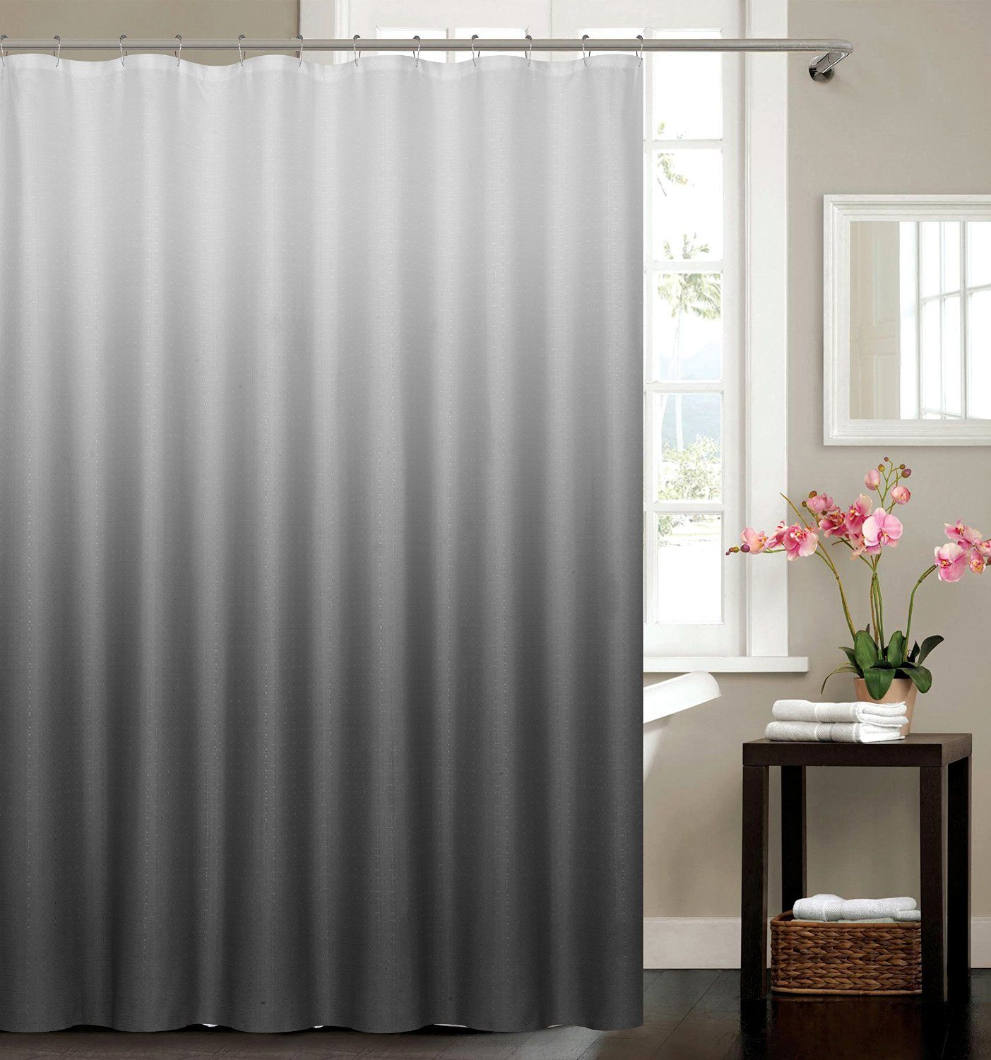 Amazon piece ombre waffle fabric weave shower curtain with