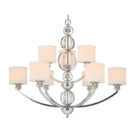 Golden Lighting 1030-9 Modern Nine Light Chandelier from the Cerchi Collection, Silver
