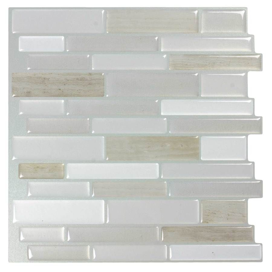 Peel Stick Mosaics Peel And Stick Light Silk 10 In X 10 In Glossy Composite Linear Mosaic Tile Lowes Com Stick On Tiles Peel And Stick Tile Stick Tile Backsplash
