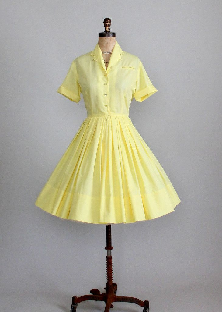 Vintage 1960s Yellow Rose Texas Shirtwasit Dress ...