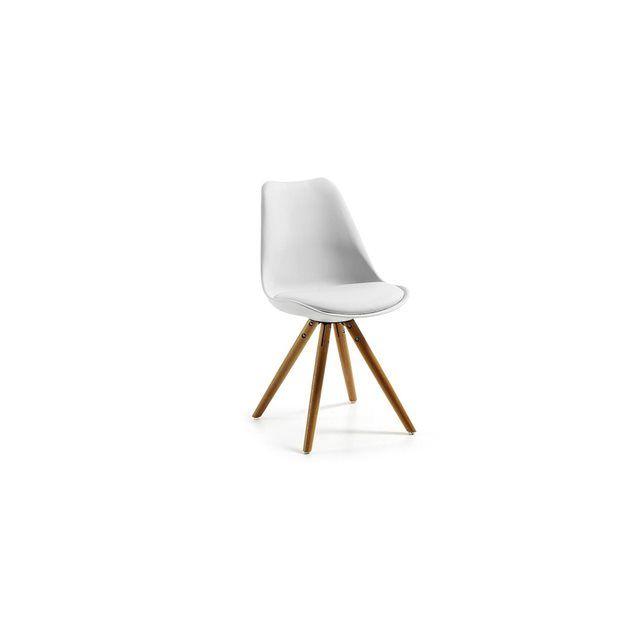 Chaise En Polypropylne Blanc Avec Pieds De Tripode Bois Htre Naturel Verni Dimensions