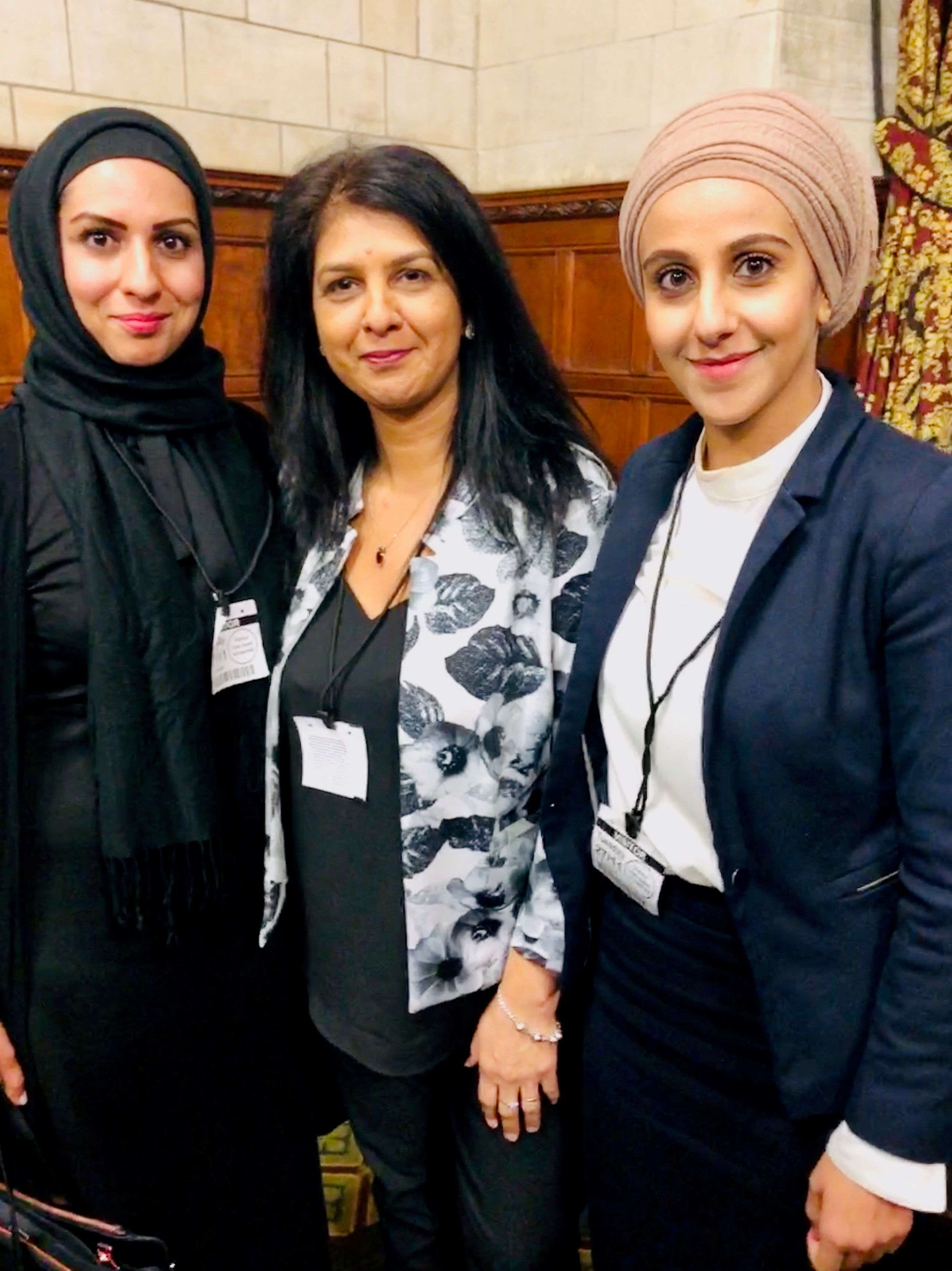 Raffia Arshad and Miriam Yafai invited to the House of Common   (L-R) Raffia Arshad, Sarbjit Athwal, Miriam Yafai  PIC: St.Mary's Chambers