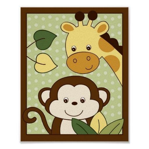 Safari Jungle Animal Nursery Wall Art Print 8X10   Animal nursery ...