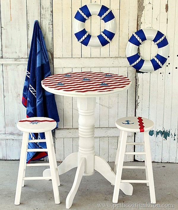 I M Adoring Petticoatjunk S Saiboat Inspired Nautical Pub Table Redo And