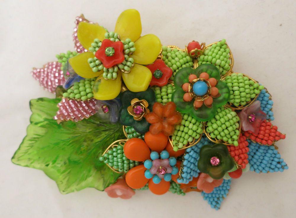 Stunning Stanley Hagler Multi Color Spring Flowers Brooch Pin SOLD