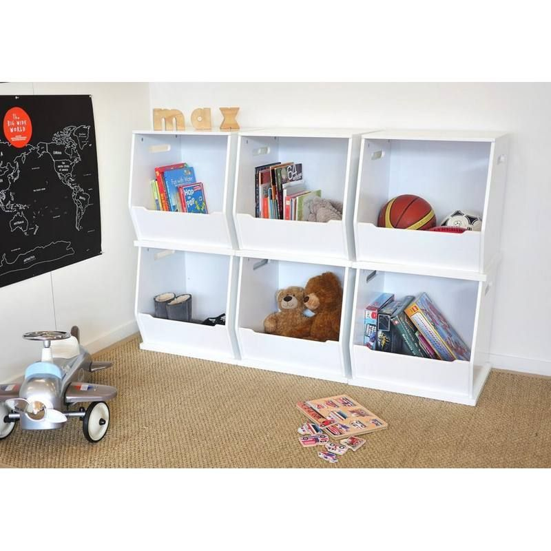 These Stylish White Stackable Toy Storage Boxes From Hip Kids Are A Great  Way To Converse Floor Space.
