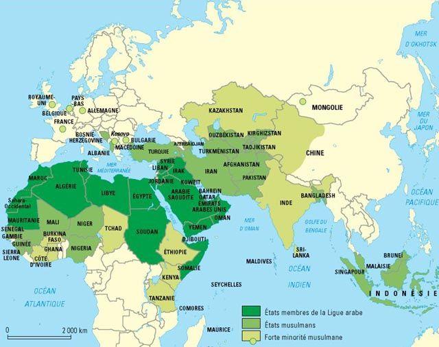 Le Monde Musulman Tunisie Carte Carte Du Monde Et Albanie