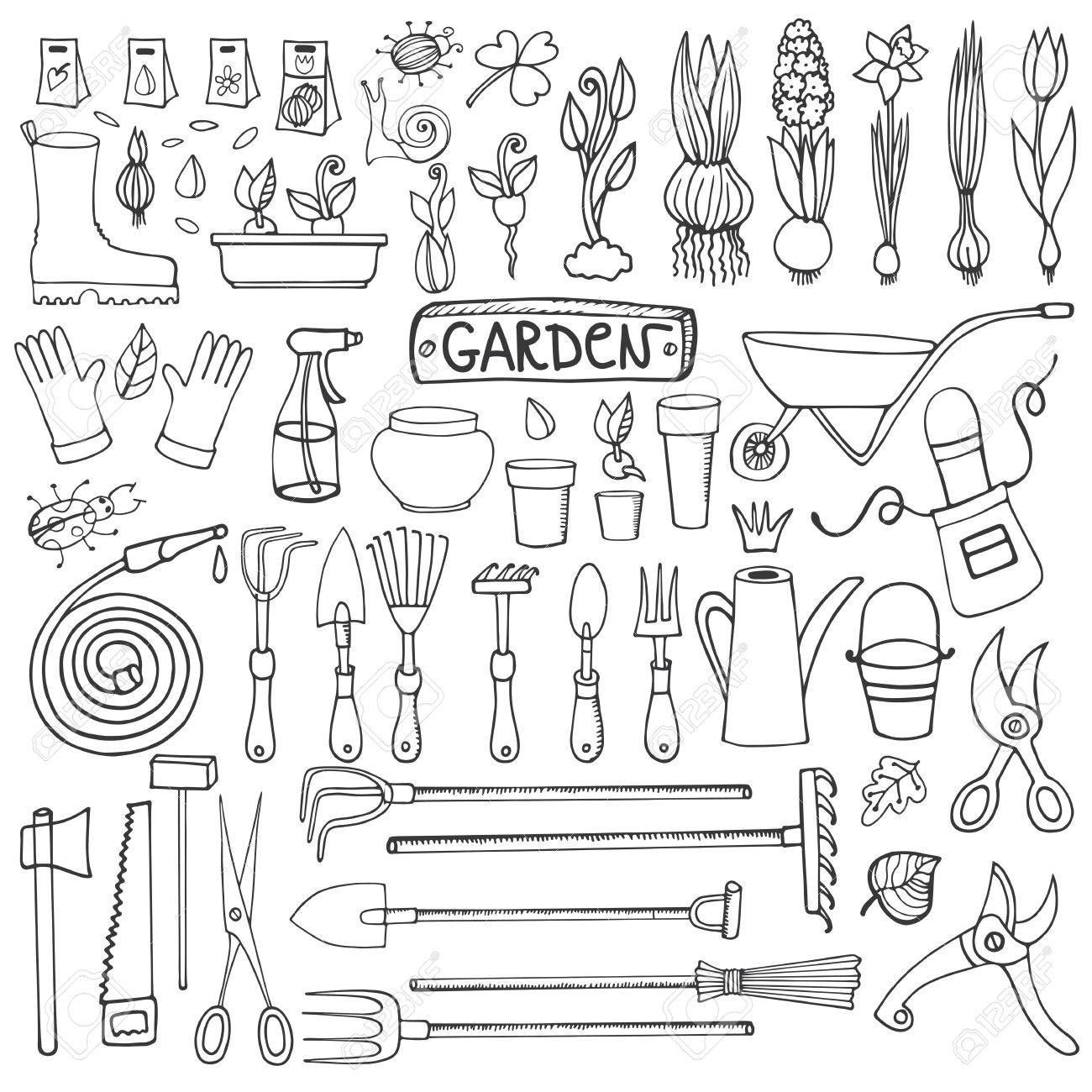 Spring Garden Set Hand Drawn Vector Sketch Elements