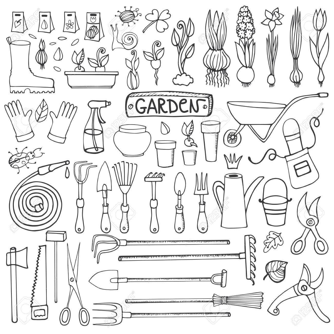 Spring Garden Set Hand Drawn Vector Sketch Elements